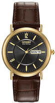 Citizen Eco-Drive Stainless Steel and Brown Leather Strap Watch