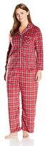 Karen Neuburger Women's Plus Size Mom Minky Fleece Long Sleeve Collared Plaid Holiday Matching Pj Set