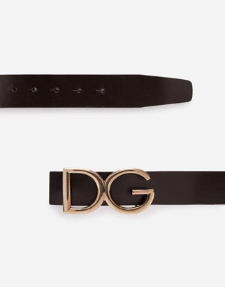 Dolce & Gabbana Belt In Leather With Logoed Plate
