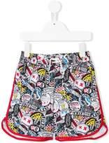 Little Marc Jacobs graffiti print swim shorts