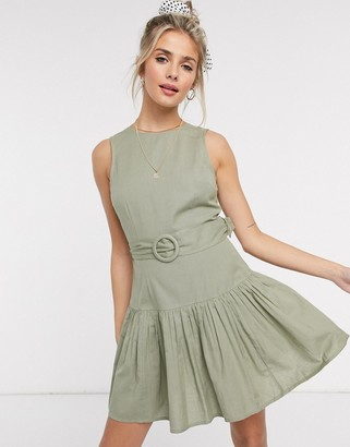 ASOS DESIGN cotton mini dress with pep hem and belt in khaki