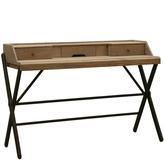 Houseology Brucs Natural Oak & Iron Desk