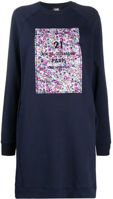 Karl Lagerfeld Paris Cotton Floral Sweatdress