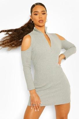 boohoo Rib High Neck Zip Cold Shoulder Mini Dress