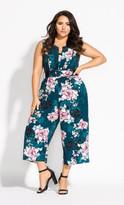 City Chic Jade Blossom Jumpsuit - jade