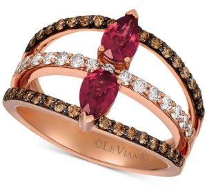 LeVian Le Vian Raspberry Rhodolite Garnet (7/8 ct. t.w.) & Diamond (5/8 ct. t.w.) Statement Ring in 14k Rose Gold