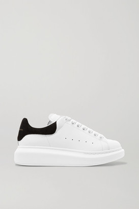 Alexander McQueen Suede-trimmed Leather Exaggerated-sole Sneakers - White