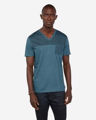 Express Stripe Floral Pocket V-Neck T-Shirt