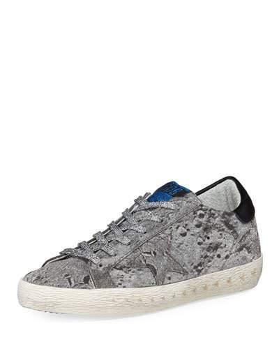 Golden Goose Superstar Glittered Platform Sneakers, Silver