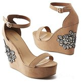 Charlotte Russe Bamboo Embroidered Two-Piece Wedge Sandals