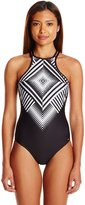Pilyq Women's Geometric Diamond Embroidered High Neck One Piece Swimsuit