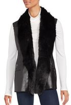 Saks Fifth Avenue Faux Fur-Trimmed Open Front Vest