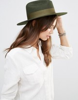 Brixton Fedora in Moss Green with Grossgrain Band