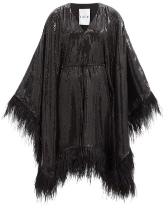 Halpern Feather-embellished Sequinned Mini Dress - Black