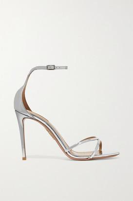 Aquazzura Purist 105 Mirrored-leather Sandals - Silver