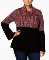 Style&Co. Style & Co. Plus Size Jacquard Cowl-Neck Sweater, Only at Macy's