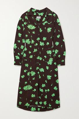 Ganni Net Sustain Floral-print Crepe Midi Shirt Dress