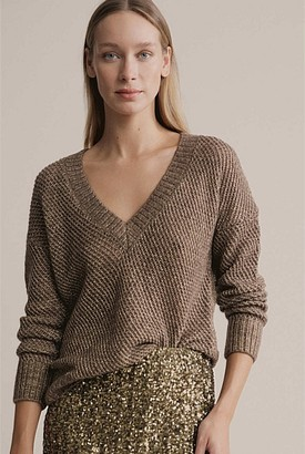 Witchery V Neck Lofty Lurex Knit