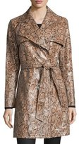 Neiman Marcus Snake-Print Leather Trenchcoat