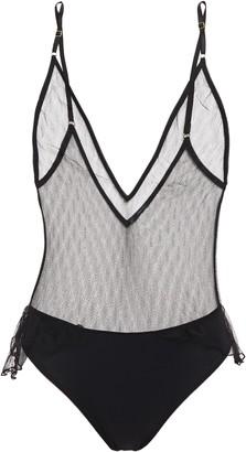 Le Petit Trou Lily Jersey-paneled Ruffle-trimmed Tulle Bodysuit