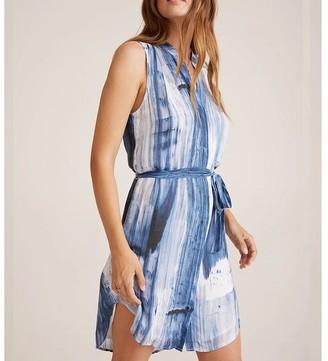 Bella Dahl S S Pleat Front Dress Blurred Stripe - M