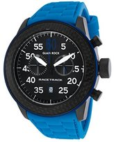 Glam Rock Grt29100f Men's Racetrack Chrono Blue Silicone Black Dial Carbon Fiber Bezel Watch