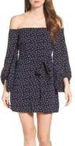 Bardot Women's Polka Dot Off The Shoulder Dress