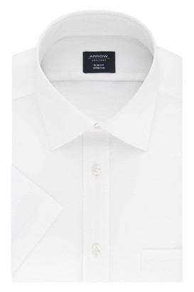 Arrow Men's Short Sleeve Dress Shirt Slim Fit Stretch Solid