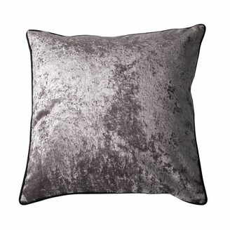 Bivain Grey Velvet Cushion with Black Piping