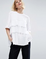 Asos Satin And Tulle Pleat Contrast T-Shirt