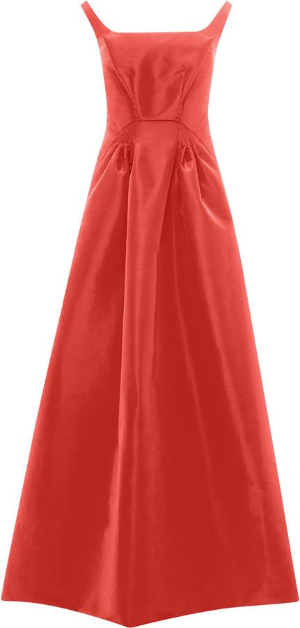 Zac Posen Ruched Waist Silk-Faille Gown