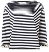 Moncler pom pom fringed trim striped top
