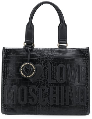 Love Moschino Crocodile Embossed Tote Bag