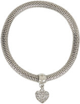 Yours Clothing Silver Stretch Bracelet With Diamante Heart Charm