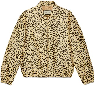 Gucci Leopard jacquard jacket with label