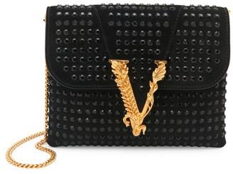 Versace Virtus Embellished Suede Evening Bag