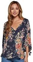Love Stitch Women's V Neck Floral Blouse