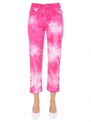 MSGM Tie-Dye Cropped Denim Jeans