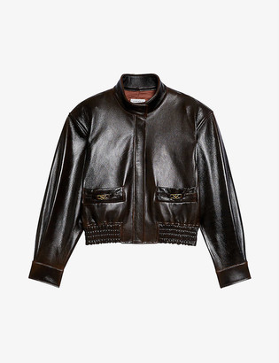 Sandro Selam logo-embossed leather jacket