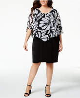 Connected Plus Size Printed-Chiffon-Cape Dress