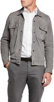 Isaia Men's Lamb Suede Trucker Jacket