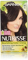 Garnier Nutrisse Nourishing Color Creme, 20 Soft Black (Black Tea), 3-Pack (Packaging May Vary)
