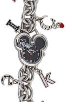 Disney Women's MK2081 Mickey Mouse Heart Shaped Dial Charm Bracelet Watch