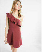 Express ruffled one shoulder skater dress
