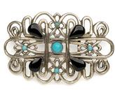 Turquoise & Silvertone Geometric Embellished Buckle