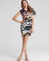 Printed Asymmetrical Draped Dress