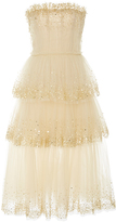 Carolina Herrera Strapless Gold Embellished Dress