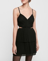 Express Pleated Tiered Cut-Out Fit And Flare Dress
