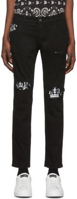 Dolce & Gabbana Black Bandana Print Skinny Jeans