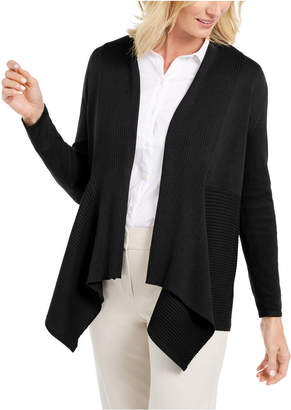JM Collection Ribbed Handkerchief-Hem Cardigan